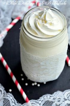 White Wedding Cake Milkshake | Sends you straight to food heaven! from willcookforsmiles.com | #milkshake #dessert