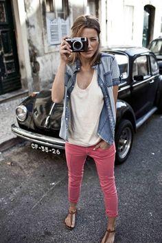 denim + white top + pink pants