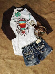 Western Dreamin' Baseball Tee + Denim Couture Shorts + Crazy Train Skull Earrings. #rhinestonesnrawhide