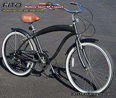 "Fito Modena Sport SF 7-speed - Matte Black/Brown Seat, man's 26"" wheel, Shimano Equipped Beach Cruiser Bike Bicycle. Micargi Schwinn Firmstrong Nirve Style - http://www.bicyclestoredirect.com/fito-modena-sport-sf-7-speed-matte-blackbrown-seat-mans-26-wheel-shimano-equipped-beach-cruiser-bike-bicycle-micargi-schwinn-firmstrong-nirve-style/"