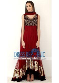 Ruby Red Pointed U Anarkali Dress Maria B Designer Anarkali Suits for Summer 2014