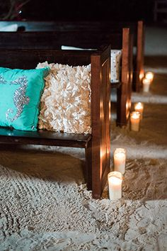 destination wedding beach ceremony seating with decorative pillows. Wedding pews as a seating alternative. Photo by: http://hunterryanphoto.com/ || Seen on: http://www.jetfeteblog.com/destination-weddings/beach-wedding-shoot-at-night