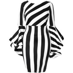 Move you. A midi dress with statement sleeves. Fitted bodice, long sleeves. Bold, all over black and white stripes. And lush, swinging bell sleeves. Keep styli…
