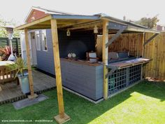 The Bbq Shed, Pub/Entertainment from Bottom of our garden owned by Steve Hughes Outdoor Bbq Kitchen, Diy Outdoor Bar, Outdoor Kitchen Design, Outdoor Garden Bar, Backyard Bar, Backyard Sheds, Outdoor Sheds, Garden Bar Shed, Garden Bbq Ideas