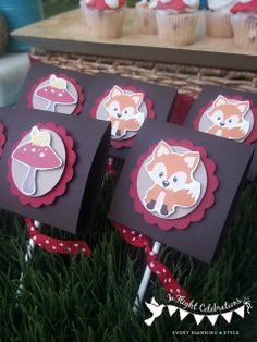 Woodland Fox Lollipop Favors by Simple Tastes Fox Party First Birthday Parties, First Birthdays, 10th Birthday, Baby Birthday, Birthday Ideas, Woodland Party, Woodland Theme, Fox Party, Baby Boy Christening