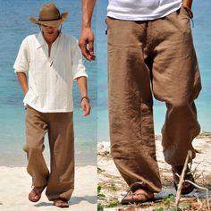 Été hommes pantalons occasionnels lâches lavage à l'eau confortable linge pantalons à jambes larges pantalons mi taille pantalons de plage dans Casual Pants de Accessoires et vêtements pour hommes sur AliExpress.com | Alibaba Group