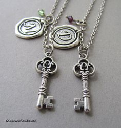 Two Keys Best Friends Necklace, Best Friend Personalized Antique Silver Wax Seal Birthstone Initial, Antique Silver Best Friend Key Necklace on Etsy, $27.00