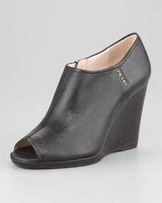 X18ZT Prada Leather Peep-Toe Platform Wedge Bootie