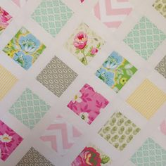 Simple, fresh, baby quilt by LuLu at For the Love