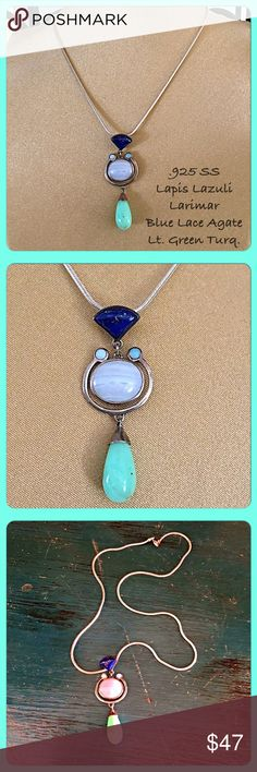 """💐VTG .925 SS, Semi-Precious Stones Pendant💐 This is a beautiful vintage pendant with a contemporary look. There is a triangle shaped Lapis stone, 2 small round Larimar, blue oval lace agate, and light green turquoise teardrop stones. All set in solid .925 sterling silver. Drop is about 2"""". I'm including an 18"""" classic .925 sterling silver Italian snake chain. Lobster claw clasp. The pendant & chain are both about 19-20 years old but still in excellent condition. Approx. 18-20g total wt…"""