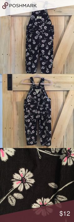 OSH KOSH Floral Corduroy Overalls Coal colored corduroy overalls with white/pink floral. Only worn once and in like new condition 🙌🏻 OshKosh B'gosh Bottoms Overalls