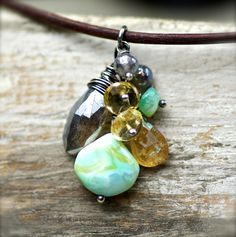 Gemstone Cluster Necklace,  Labradorite, Peruvian Opal, Citrine, and Hessonite on Sterling Silver