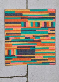 Hattie Butner throw quilt  | improv modern quilt yellow orange navy blue teal pink striped handmade homemade cotton throw quilt Copy