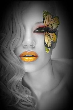 my misty morning Butterfly Face, Butterfly Images, Butterfly Kisses, Black And White Portraits, Black And White Photography, Color Splash, Color Pop, Colour, Monica Bellucci Photo