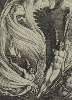 William Strang (British; 1859–1921) Satan Rising from the Burning Lake 1896 Etching In: Paradise Lost by John Milton: A Series of Twelve Illustrations Etched by William Strang So stretched out huge in length the Arch-fiend lay, Chained on the burning lake... Then with expanded wings he steers his flight Aloft, incumbent on the dusky air... (John Milton, Paradise Lost, Book I)