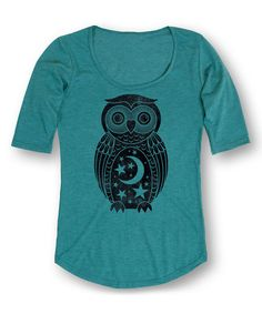 Another great find on #zulily! Heather Turquoise Moon Stars Owl Three-Quarter Sleeve Tee #zulilyfinds