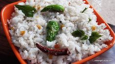 #Coconut Rice, #Kobbari Annam  -- Coconut Rice is a simple and tasty traditional dish of south India.  It is low on spices and is a wee bit sweet.  #ricevarieties #ricerecipes #coconut #indianfood #indian #breakfastrecipes #kidsrecipes