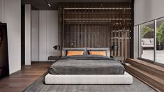 Bright orange home accents add vibrancy to a seriously sophisticated decor scheme of dark wood slat walls & grey decor - all lit by a cosy home lighting scheme. Bedroom Nook, Home Bedroom, Modern Bedroom, Bedroom Decor, Modern Bedding, Futuristisches Design, Modern Contemporary Homes, Round Beds, Luxury Bedding Sets