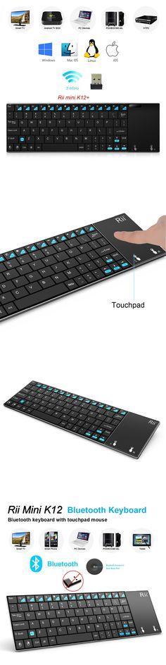 New Original Ultra-slim Rii mini K12 Bluetooth and Aluminium K12+ Qwerty Touchpad Wireless Keyboard PC Teclado for Tablet HTPC
