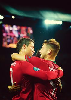 Cristiano Ronaldo and Miguel Veloso, Portugal NT. Cristiano Ronaldo Portugal, Euro 2012, Soccer Boys, Tears Of Joy, Falling Down, Cute Faces, Football Players, Real Madrid, My Music