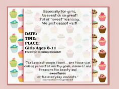 Sofia's Primary Ideas: LDS Stake Activity Day Girls/Especially for Girls Idea