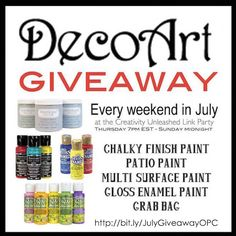 GIANT GIVEAWAY every weekend! Currently giving away a DecoArt Craft bundle!