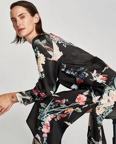DRESS WITH BIRD PRINT AND TIED WAIST-Midi-DRESSES-WOMAN-SALE | ZARA United States