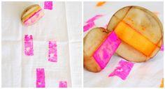 Tut Tuesday: Potato Stamp Neon Napkins - The Proper Pinwheel : The Proper Pinwheel