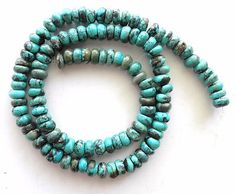 7 mm Real Turquoise Rough Cut Rondelle Beads Green 16 inch Strand