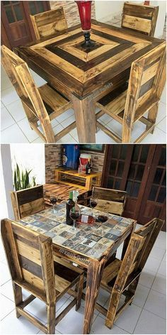 For your household purposes, this is an inexpensive and simple idea of the wood pallet dining table furniture concept. This dining table is view out in a simple table creation where it do include the pairing of the chair sets as 4 in quantity. It looks simply amazing and much decent looking.