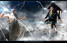 Ben Franklin vs Zeus HQ 11x17 Print by sharpwriter on Etsy, $25.00    A patriotic version of 'Clash of The Titans'.