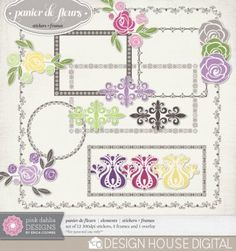 This weekend only! Panier de Fleurs stickers and frames freebie from Pink Dahlia Designs #scrapbook #digiscrap #scrapbooking #digifree #scrap