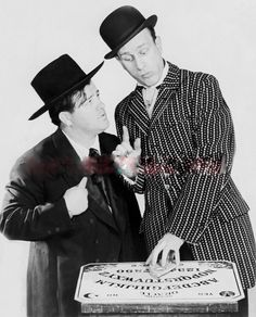 (Bud Abbott and Lou Costello posing with a Ouija game board from their Burlesque days circa Courtesy of Terry Soto Whos On First, Funny Comedians, Grover Cleveland, Abbott And Costello, Old Movies, Burlesque, Old Photos, Movies And Tv Shows, Movie Stars