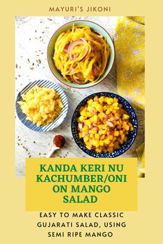 Kanda Keri Nu Kachumber or Mango Onion Salad is a simple but bursting with flavors kind of salad. Enjoy it as a part of your main meal, or with some khichdi or on its own as a snack. Healthy, its the best way to enjoy semi ripe mango during the summer season. Kanda is the Gujarati word for onion, keri is mango and kachumber is salad. #salad #gujaratifood #mango #onion #cumin #redchillipowder #healthyfood #easyrecipe Side Dishes For Salmon, Steak Side Dishes, Side Dishes For Chicken, Dinner Side Dishes, Side Dishes Easy, Healthy Crockpot Recipes, Healthy Snacks, Vegetarian Recipes, Onion Salad