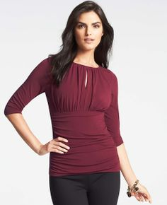 Petite Ruched Keyhole Top