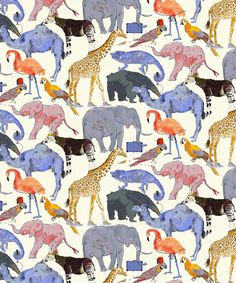 Liberty Art Fabrics Queue for the Zoo E Tana Lawn Cotton.    Children's author and illustrator, OK David, collaborated with the Liberty Design Team to create the Queue For The Zoo fabric design. Hand-drawn and painted exclusively for Liberty, OK David's animal print represents the Third Floor's Childrenswear Department.