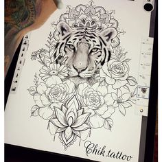 Do you also want a flower tattoo to show yourself? Check out the most beautiful flower tattoo we have prepared for you! We hope to give you the greatest inspiration. Mandala Tattoo Design, Tiger Tattoo Design, Flower Tattoo Designs, Animal Mandala Tattoo, Mandala Lion, Badass Tattoos, Cute Tattoos, Leg Tattoos, Body Art Tattoos