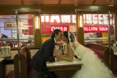 A kiss in the diner at the Henry Ford Museum, Henry Ford Wedding