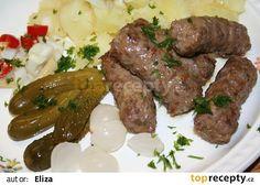 Čevabčiči se sýrem recept - TopRecepty.cz Ground Meat Recipes, Romanian Food, Russian Recipes, Sausage, Steak, Beef, Kitchens, Ground Beef Recipes, Meat