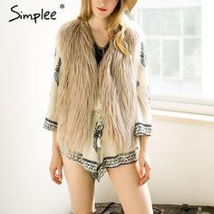 Simplee Casual fluffy pink elegant faux fur vest 2016 autumn winter women jacket coat Soft warm sleeveless outwear black parkas
