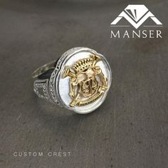 Silver coat of arms ring with yellow gold top. Cast in two parts and added together. Gold Top, Coat Of Arms, Cufflinks, Silver Rings, Jewelry Making, Wedding Rings, Engagement Rings, Jewels, Yellow