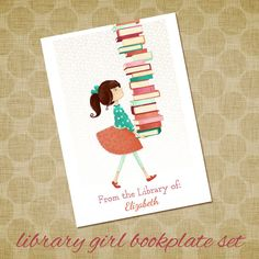 Personalized Bookplates - Library Girl - Set of 18 - childrens bookplates teacher librarian gift reader reading