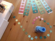 DIY: garland from paint chips and paper punch (in french but the pictures are quite clear)