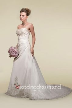 Stunning Embroidered Strapless Beaded A-line Chapel Train Church Wedding Dress