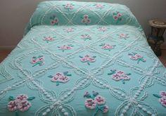 Vintage Cabin Crafts Chenille Bedspread Green Floral Tag 92 X 95