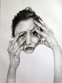 "Self-Deception Portraits. Artist and illustrator Gillian Lambert created this series of drawings called ""Self-Deception"". The artist graduated from Kenyon Gillian Lambert, Face Distortion, Theme Design, Art Alevel, A Level Art, Ap Art, Gcse Art, High Art, Portraits"