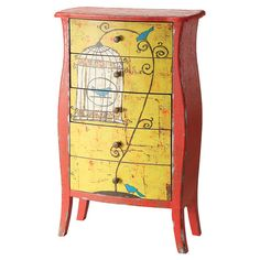 DIY Re-Do Idea.  Found it at Wayfair - Bright 5 Drawer Lingerie Chest in Yellow $500 sale $409