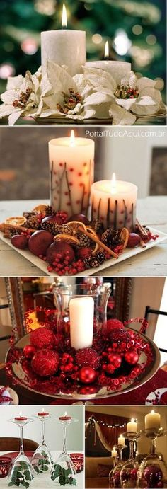 18 Christmas Centerpieces Decoration Ideas Which Brings The Entire Family Together - Diy & Decor Selections Noel Christmas, Christmas Candles, All Things Christmas, Winter Christmas, Christmas Crafts, Christmas Ornaments, Christmas Table Settings, Christmas Table Decorations, Centerpiece Decorations