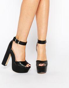 Daisy Street Black Platform Heeled Sandals