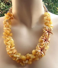 Jade jewellery set- Yellow jade necklace- Clay lily. $48.00, via Etsy.